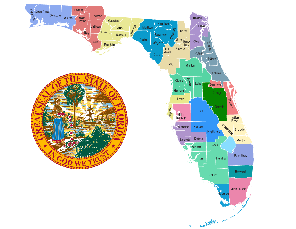 Map of the judicial circuits of Florida